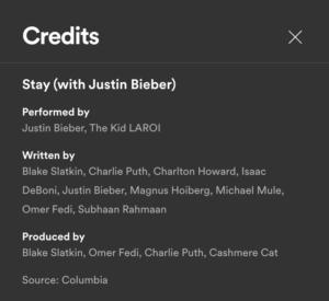 'Stay'のクレジット - Spotifyから