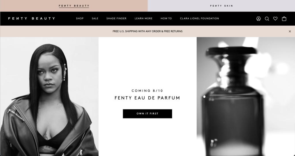 「Fenty Beauty」のウェブサイト